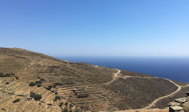 Blue sky, horizon, sea, nature in Tinos, holidays in Cyclades, island hopping to Andros, Mykonos, ferry tickets