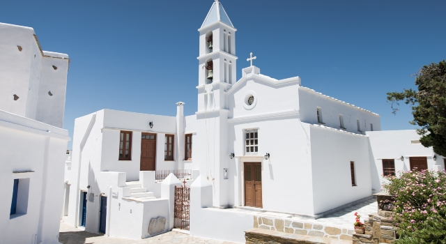 White church, village in Tinos, blue sky, tradition, holidays, ferry tickets from Athens, Andros, Mykonos