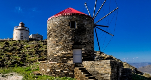 Stone windmill in Tinos